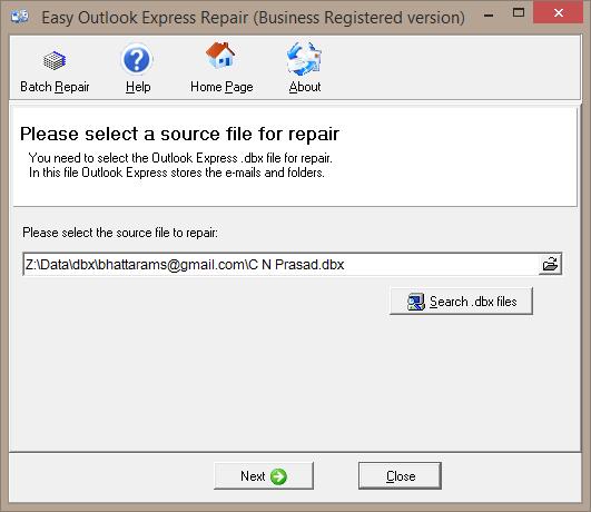 Windows 7 Easy Outlook Express Repair 1.7.27 full